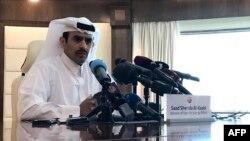 Saad Sherida Al-Kaabi, Menteri Energi Qatar, dalam konferensi pers di Doha, Ibu Kota Qatar, 3 Desember 2018. (Foto: AFP)