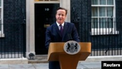 PM Inggris David Cameron memberikan pernyataan kepada media di London, sehari setelah referendum Skotlandia menolak pemisahan dari Inggris (19/9).