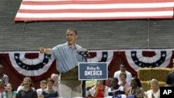 美國總統奧巴馬七月五號在俄亥俄州發表競選演講