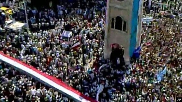 An image taken from footage uploaded on YouTube shows hundreds of thousands of Syrian anti-government protesters flooding the streets of the central city of Hama on July 1, 2011