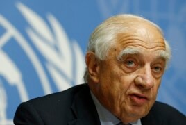 FILE - Peter Sutherland, special representative of the United Nations Secretary general for migration and development, addresses a news conference on the current migrants crisis in Geneva, Switzerland, Sept. 8, 2015.