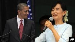 美国总统奥巴马和缅甸民主领导人昂山素季