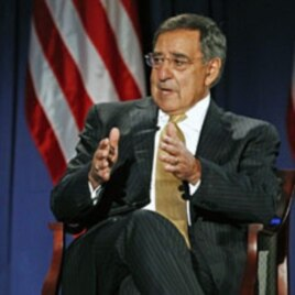 US Secretary of State Hillary Rodham Clinton (not shown) and Secretary of Defense Leon Panetta take part in a televised conversation at the National Defense University in Washington, DC, August 16, 2011