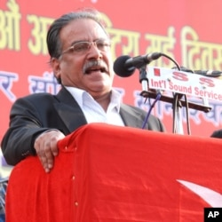 Former PM of Nepal, Pushpa Kamal Dahal, better known as Maoist Party chairman Prachanda, addresses a May Day rally in Kathmandu
