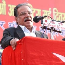 Former PM of Nepal, Pushpa Kamal Dahal, better known as Maoist Party chairman Prachanda, addresses a May Day rally in Kathmandu