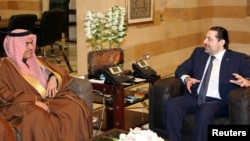 Lebanon's Prime Minister Saad al-Hariri, right, meets with Saudi Arabia's Arab Gulf Affairs Minister Thamer al-Sabhan in Beirut, Feb. 6, 2017.