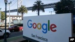 Papan petunjuk kantor Google di San Francisco, AS. (Foto: dok).