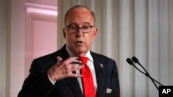FILE - Larry Kudlow, director of the National Economic Council, speaks during a meeting at the Economic Club of New York, Sept. 17, 2018, in New York.