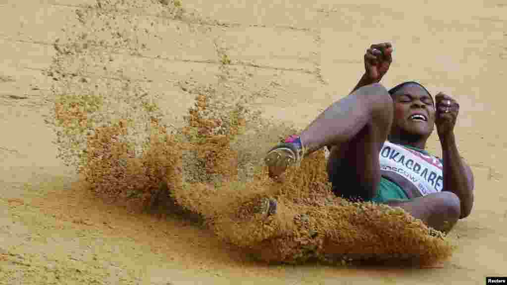 Blessing Okagbare of Nigeria competes in the women's long jump final during the IAAF World Athletics Championships in Moscow August 11, 2013.