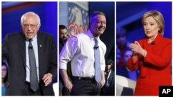 Demokratlardan prezidentlik uchun nomzodlar (chapdan) - Berni Sanders, Martin Omalli va Xillari Klinton Ayovada kechgan bahsda. 25-yanvar, 2016-yil.