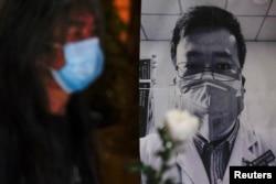 2020年2月7日,中国民众悼念感染新冠肺炎殉职的武汉医生、吹哨人李文亮 (路透社)