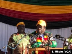 President Emmerson Mnangagwa addresses members of ruling Zanu PF in Mutoko, June 9, 2018, about 150 km east of Harare.