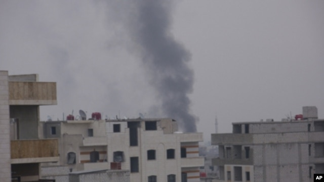 Smoke rises from the suburb of Erbeen in Damascus, January 29, 2012.