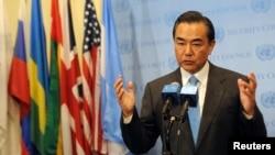 中国外长王毅在纽约联大同媒体谈叙利亚问题。(资料照)