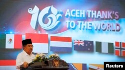 Wapres Jusuf Kalla menyampaikan pidato para peringatan 10 tahun Tsunami di Banda Aceh (26/12).