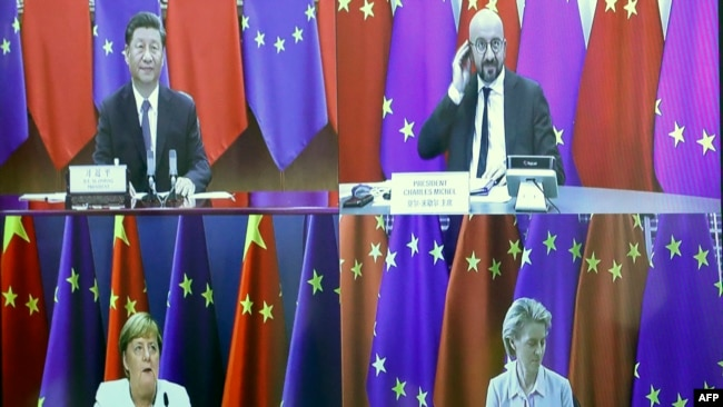 Chinese President Xi Jinping (top L), European Council President Charles Michel