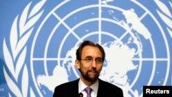 16일 제이드 라드 알 후세인 신임 유엔 인권담당 최고대표가 스위스 제네바 유엔본부에서 기자회견을 가지고 있다.