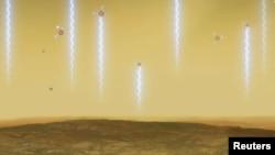 ایک آرٹسٹ نے زہرہ پر فاسفین گیس کے پیدا ہونے اور تیزابی فضا میں غائب ہونے کی تصویر کشی کچھ اس طرح کی ہے۔