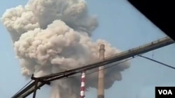 Caption: 2019年7月19日,中国河南三门峡义马气化厂发生严重爆炸事故。(微博图片)