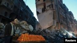 12月27日叙利亚阿勒颇一条被摧毁的街道