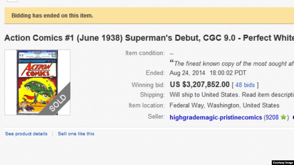 Record Price Paid for First Superman Comic Book