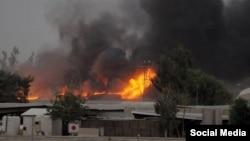 عکسی که در فضای مجازی به عنوان حمله به محل استقرار اعضای مجاهدین خلق در بغداد منتشر شده است