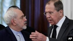 Министры иностранных дел Ирана и России Мохаммад Джавад Зариф и Сергей Лавров