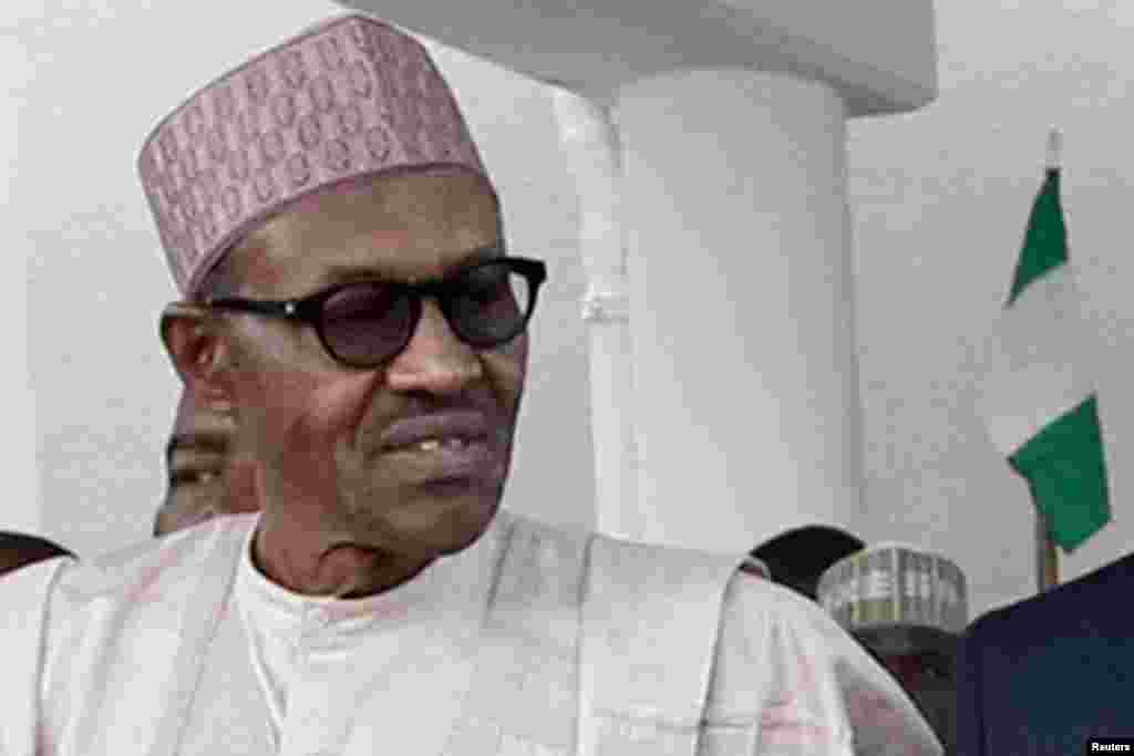 Shugaba Muhammadu Buhari na Najeriya a Shugabannin ECOWAS a Taronsu a Abujan, 23 Satumba, 2015.
