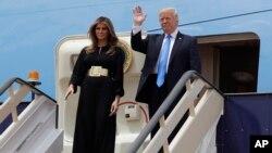 President Donald Trump and first lady Melania Trump arrive at the Royal Terminal of King Khalid International Airport, May 20, 2017, in Riyadh.