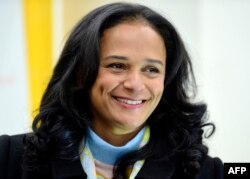 FILE - Angolan businesswoman Isabel Dos Santos speaks in Maia, central Portugal, Feb. 5, 2018.