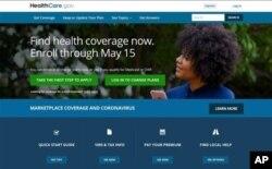 Esta imagen muestra la página principal del sitio web HealthCare.gov el 15 de febrero de 2021