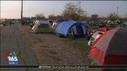 اقامت قربانیان آتش سوزی کالیفرنیا در چادرهای موقت