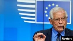 歐盟外交政策主管博雷利在一次歐盟外長會議後的記者會上講話。(2021年5月10日)