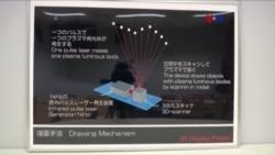 Proyección en 3D que flota en el aire