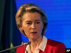 FILE - European Commission President Ursula von der Leyen speaks in Ankara, Turkey, April 6, 2021.