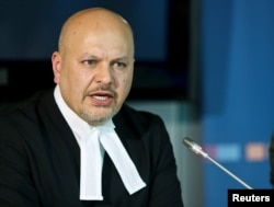 FILE PHOTO: Defense counsel Karim Khan appears before a trial at the International Criminal Court in The Hague on Sept. 9, 2013.