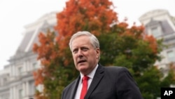 FILE - Then-White House Chief of Staff Mark Meadows speaks with reporters at the White House, Oct. 21, 2020, in Washington.