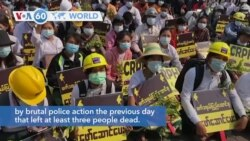 VOA60 Addunyaa - Myanmar: Several thousand anti-coup protesters returned to the streets of Yangon on Thursday