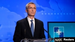NATO Secretary General Jens Stoltenberg holds an online news conference after a NATO Foreign Ministers video meeting following developments in Afghanistan, at the NATO headquarters in Brussels, Belgium, Aug. 20, 2021.