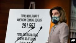 Спікерка Палати представників США Ненсі Пелосі під час прес-конференції 10 грудня