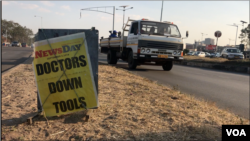A poster publicizes the doctor strike in Harare, Sept. 3, 2019. (Columbus Mavhunga/VOA)