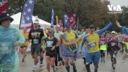 Українські військові пробігли марафон морської піхоти у США. Відео