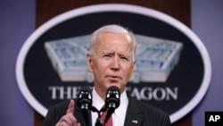 조 바이든 미국 대통령이 10일 워싱턴 인근 국방부 청사에서 연설했다.