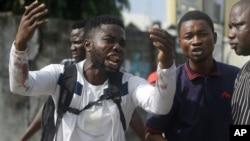 Alister, muandamanaji anasemaa yake Emeka aliuawa na risasi iliyokuwa haikumkusudia iliyorushwa na jeshi, alipokuwa akieleza hisia zake kwa shirika la Associated Press, Lagos, Nigeria, Jumanne Oct. 20, 2020.
