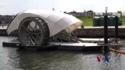 巴尔的摩用水车清除河道垃圾