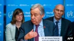 Tổng thư ký Liên Hiệp Quốc Antonio Guterres phát biểu về tình hình COVID-19 tại Tổ chức Y tế Thế giới (WHO) ngày 24/2/2020.