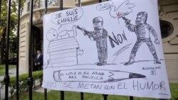 Condenan ataques con caricaturas