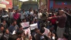سری نگر میں اتوار کی ہلاکتوں کے خلاف مظاہرہ