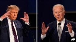 ARHIVA - Predsednik Tramp (levo) i Džo Bajden 29. septembra 2020, tokom prve predsedničke debate u Klivlendu (Foto: AP)