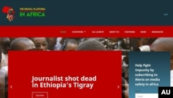 A screenshot of the African Union's newly-launched website to track threats to African journalists. (Courtesy AU)